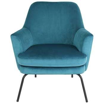Habitat Celine Velvet Accent Chair - Teal (H83 x W74 x D73cm)
