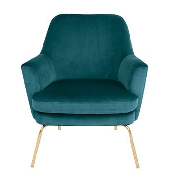 Habitat Celine Velvet Accent Chair - Teal with Gold Legs (H83 x W74 x D73cm)