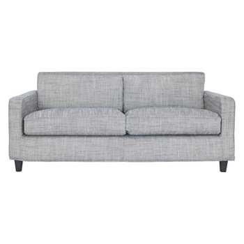 Habitat Chester Black & White Italian Woven Fabric 3 Seater Sofa, Dark Stained Feet (79 x 200cm)