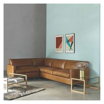 Habitat Chester Brown Luxury Leather Right-Arm Corner Sofa, Dark Stained Feet (78 x 275cm)