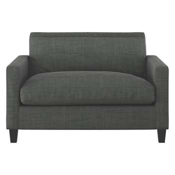 Habitat Chester Charcoal Italian Woven Compact Sofa, Dark Stained Feet (79 x 120cm)