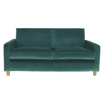 Habitat Chester Emerald Green Velvet 2 Seater Sofa, Oak Stained Feet (79 x 170cm)