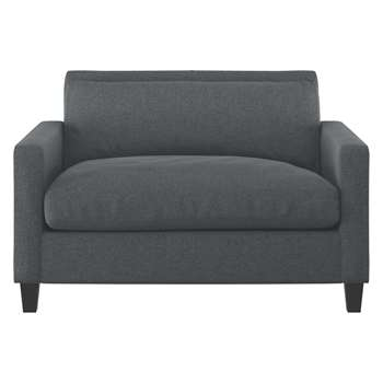 Habitat Chester Grey Textured Compact Sofa, Dark Stained Sofa (79 x 120cm)