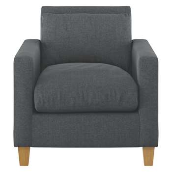 Habitat Chester Grey Textured Fabric Armchair, Oak Stained Feet (79 x 73cm)