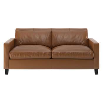 Habitat Chester Light Brown Leather 2 Seater Sofa, Dark Feet (79 x 170cm)