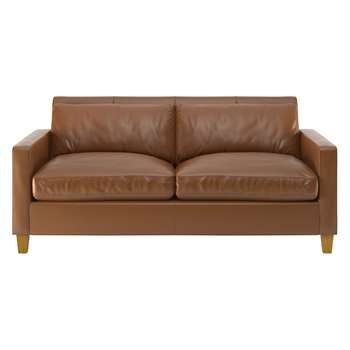 Habitat Chester Light Brown Leather 2 Seater Sofa, Oak Feet (79 x 170cm)