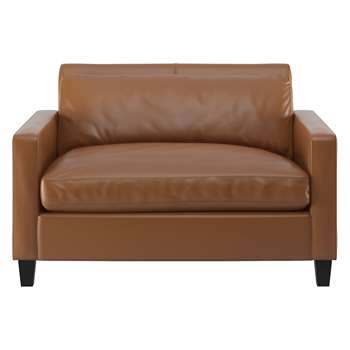 Habitat Chester Light Brown Leather Compact Sofa, Dark Stained Feet (79 x 120cm)