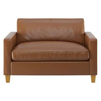 Habitat Chester Light Brown Leather Compact Sofa, Oak Stained Feet (79 x 120cm)