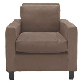Habitat Chester Light Brown Luxury Leather Armchair, Dark Stained Feet (76 x 75cm)