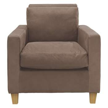 Habitat Chester Light Brown Luxury Leather Armchair, Oak Stained Feet (76 x 75cm)
