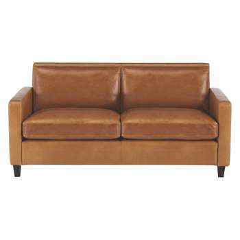 Habitat Chester Mid Tan Leather 2 Seater Sofa, Dark Stained Feet (79 x 170cm)