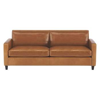 Habitat Chester Mid Tan Leather 3 Seater Sofa, Dark Stained Feet (79 x 200cm)