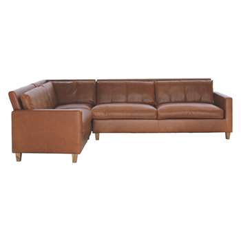 Habitat Chester Mid Tan Leather Right-Arm Corner Sofa, Oak Stained Feet (79 x 275cm)
