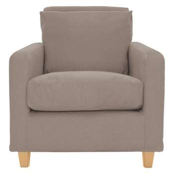 Habitat Chester Natural Fabric Armchair, Oak Stained Feet (76 x 75cm)