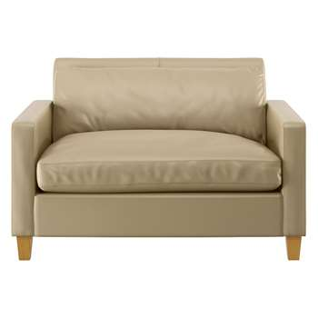 Habitat Chester Stone Leather Compact Sofa, Oak Stained Feet (79 x 120cm)