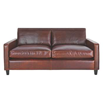 Habitat Chester Tan Leather 2 Seater Sofa, Dark Stained Feet (79 x 170cm)