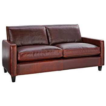 Habitat Chester Tan Leather 3 Seater Sofa, Dark Stained Feet (79 x 200cm)