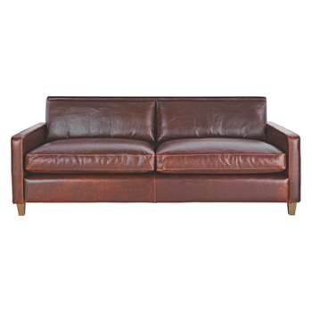 Habitat Chester Tan Leather 3 Seater Sofa, Oak Stained Feet (79 x 200cm)