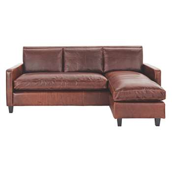 Habitat Chester Tan Leather Chaise Sofa, Dark Stained Feet (79 x 200cm)