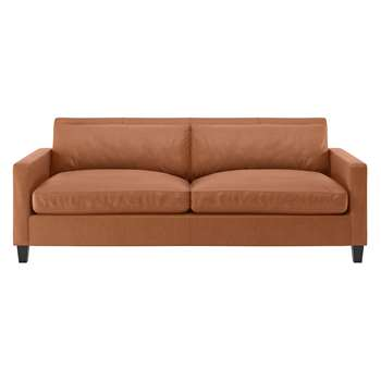 Habitat Chester Tan Luxury Leather 3 Seater Sofa, Dark Stained Feet (79 x 200cm)
