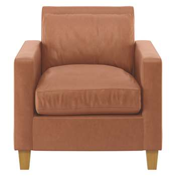 Habitat Chester Tan Luxury Leather Armchair, Oak Stained Feet (79 x 73cm)