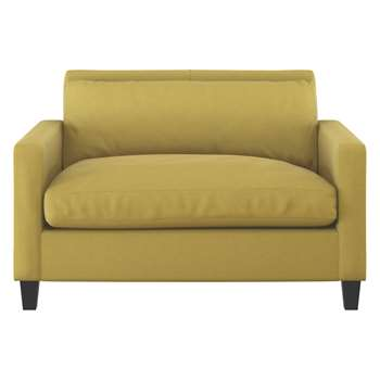 Habitat Chester Yellow Textured Compact Sofa, Dark Stained Feet (79 x 120cm)