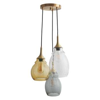 Habitat Cinders Tinted Glass Triple Drop Ceiling Light (150 x 20cm)