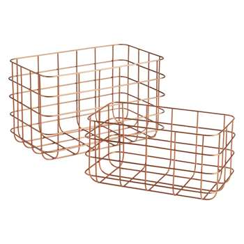 Habitat Clissold Set Of 2 Copper Wire Baskets (20 x 33cm)
