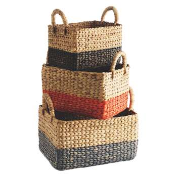Habitat Coby Set Of 3 Multi-Coloured Rectangular Water Hyacinth Baskets (22 x 30cm)