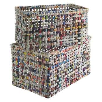 Habitat Cohen Set Of 2 Multi-Coloured Recycled Magazine Storage Baskets (24 x 42cm)