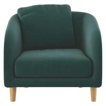Habitat Colby Emerald Green Velvet Armchair (77 x 90cm)