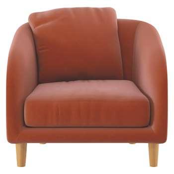 Habitat Colby Orange Velvet Armchair (77 x 90cm)