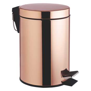 Habitat Collier Copper Mirror Finish Metal Pedal Bathroom Bin (H24.3 x W22 x D22cm)
