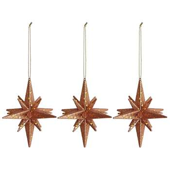 Habitat Cosmos Set of 3 Bronze Star Christmas Tree Decorations (H10.4 x W10.4cm)