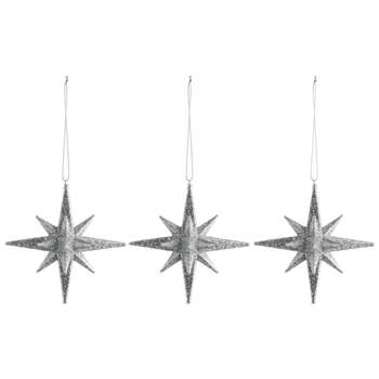 Habitat Cosmos Set of 3 Silver Star Christmas Tree Decorations (H10.4 x W10.4cm)