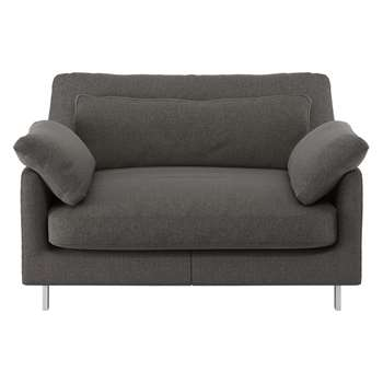 Habitat Cuscino Charcoal Herringbone Wool Mix Compact Sofa (79 x 120cm)