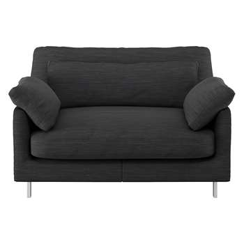 Habitat Cuscino Charcoal Textured Fabric Compact Sofa (79 x 120cm)