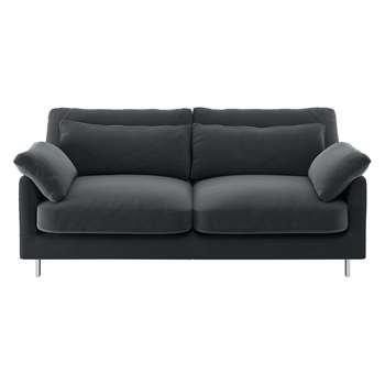 Habitat Cuscino Dark Grey Velvet 2 Seater Sofa (79 x 170cm)