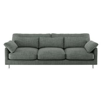 Habitat Cuscino Grey Italian Woven Fabric 3 Seater Sofa (79 x 220cm)