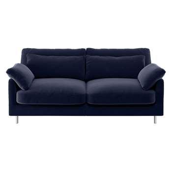Habitat Cuscino Navy Velvet 2 Seater Sofa (79 x 170cm)