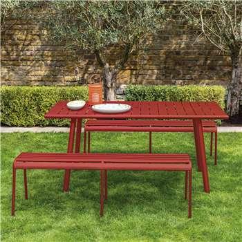 Habitat Darwin Red Metal 6 Seat Garden Dining Set (75 x 160cm)