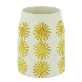 Habitat Doolin Off White Vase With Yellow Sun Print (H16 x W12 x D12cm)