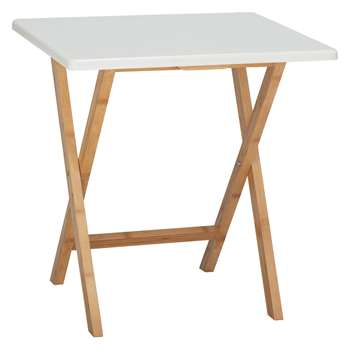 Habitat Drew 2 Seat Bamboo And White Lacquer Folding Dining Table (H75 x W70 x D60cm)