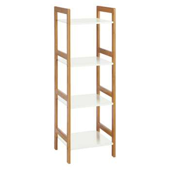 Habitat Drew Bamboo And White Lacquer 4-shelf Bookcase 110 x 36cm