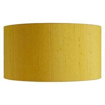 Habitat Drum Silk Yellow Silk Drum Lampshade Medium (18 x 35cm)