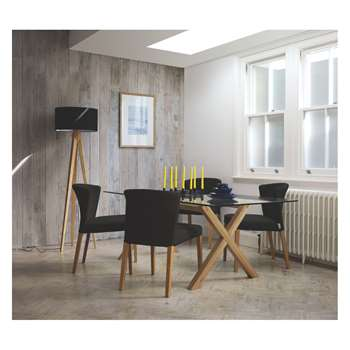 Habitat Dublin Dining Set With 160cm Table And 4 Valentina Grey Chairs (H71 x W160 x D80)