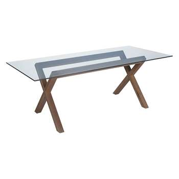 Habitat Dublin 6 Seater Walnut Stain And Glass Dining Table (72 x 180cm)