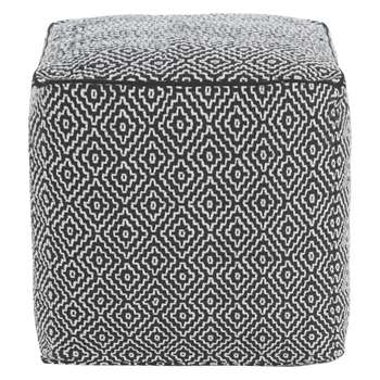 Habitat Durrie Monochrome Patterned Footstool (45 x 45cm)