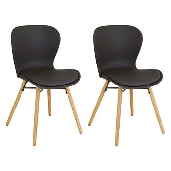 Habitat Etta Chair - Pair Of Black Plastic And Faux Leather Dining Chairs With Wooden Legs (H82.5 x W48 x D56cm)