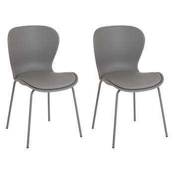 Habitat Etta Chair - Pair Of Grey Plastic And Faux Leather Dining Chairs With Grey Metal Legs (H82.5 x W48 x D56cm)